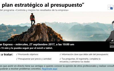 """Webinar """"Del Plan estratégico al presupuesto"""""""